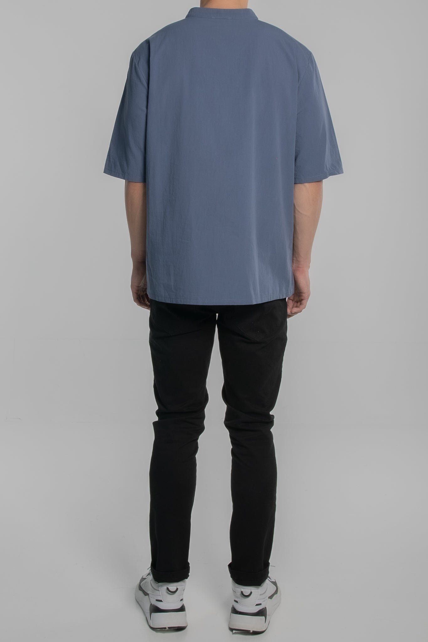 Mandarin Collar Short Sleeve Shirt (Blue)