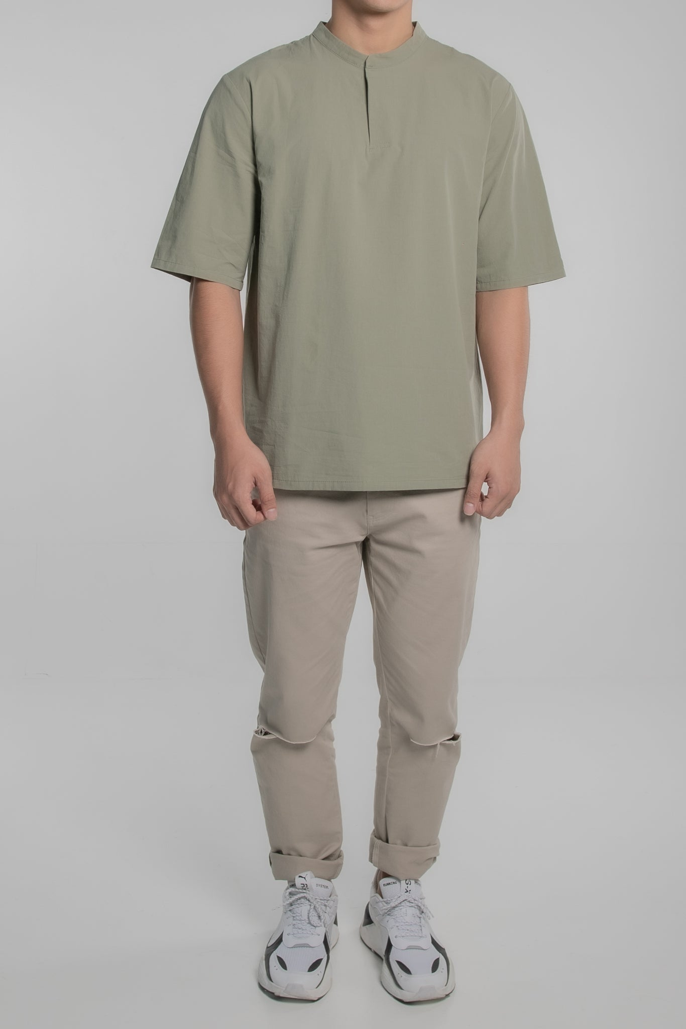 Mandarin Collar Short Sleeve Shirt (Green)