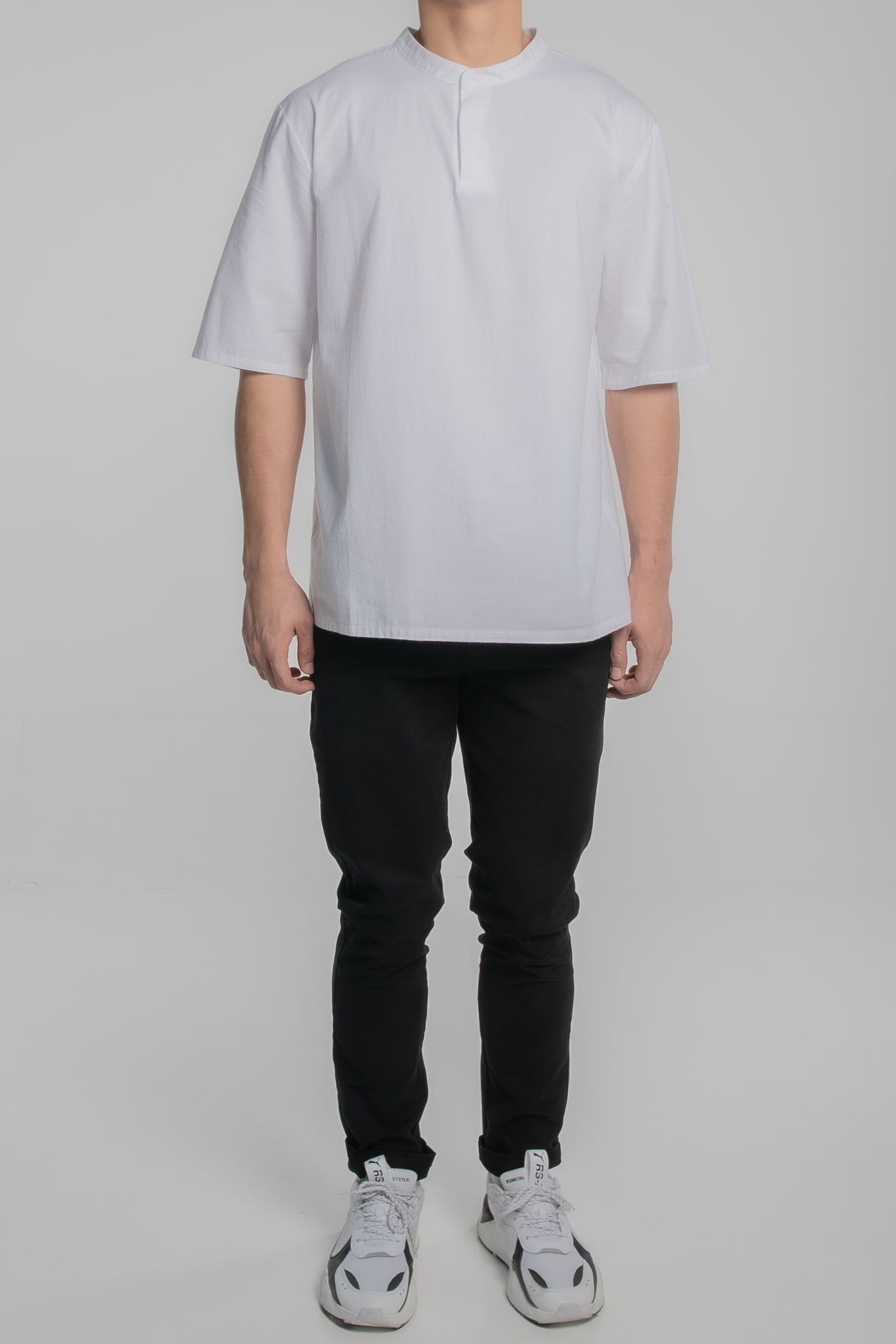Mandarin Collar Short Sleeve Shirt (White)
