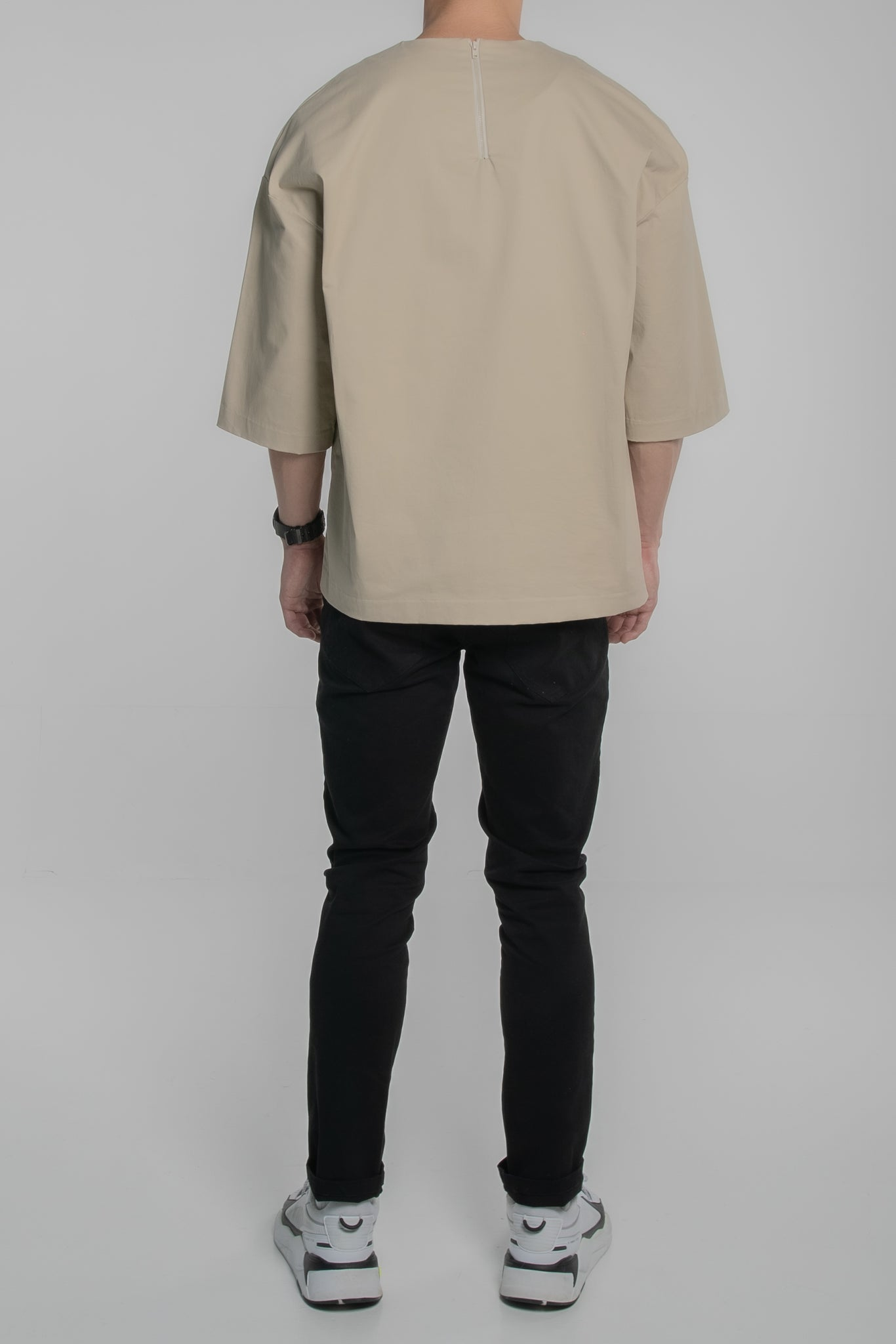 3/4 Jumbo Pocket Tee (Beige)
