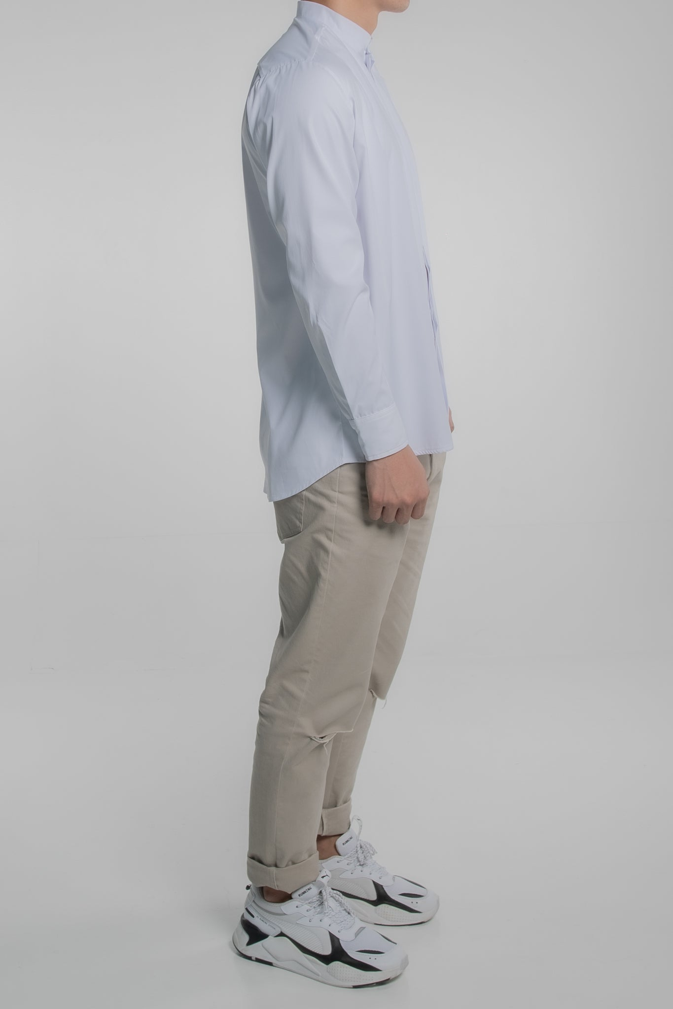 Grandad Collar Long Sleeves (White)