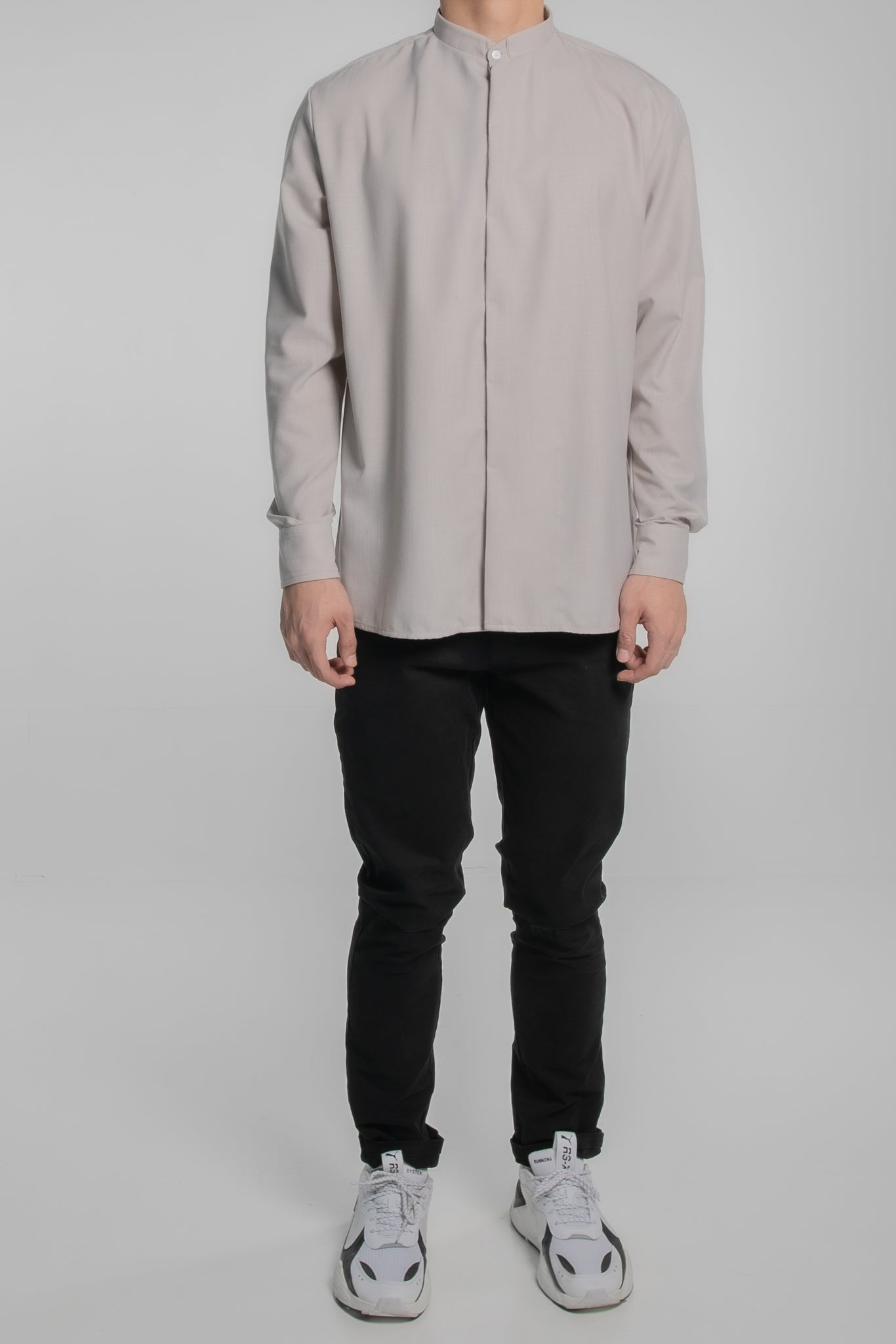 Grandad Collar Long Sleeves (Grey)