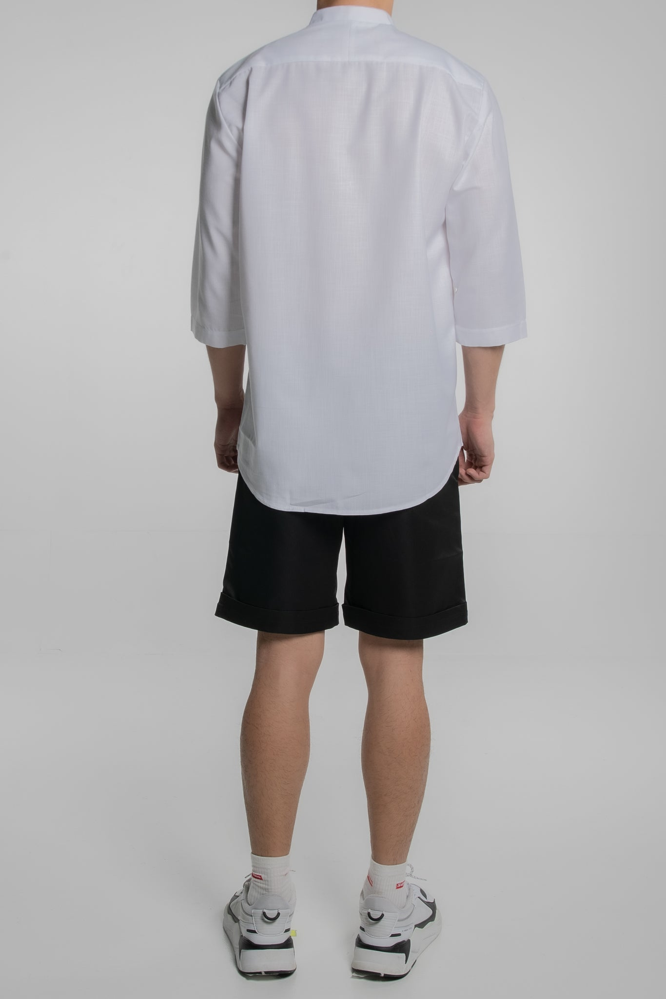 Double Grandad Collar with 3/4 Sleeves (Sheer White)
