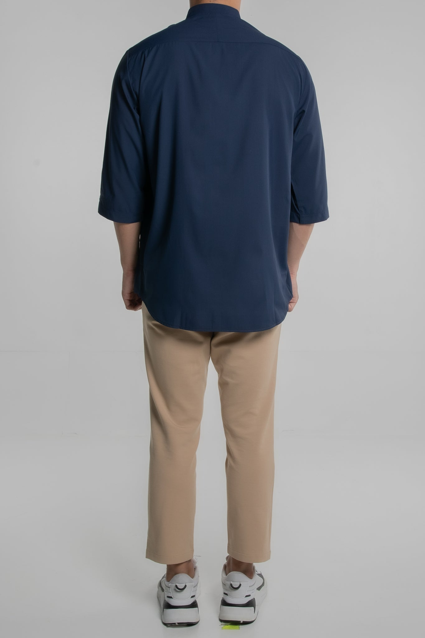 Double Grandad Collar with 3/4 Sleeves (Navy Blue)