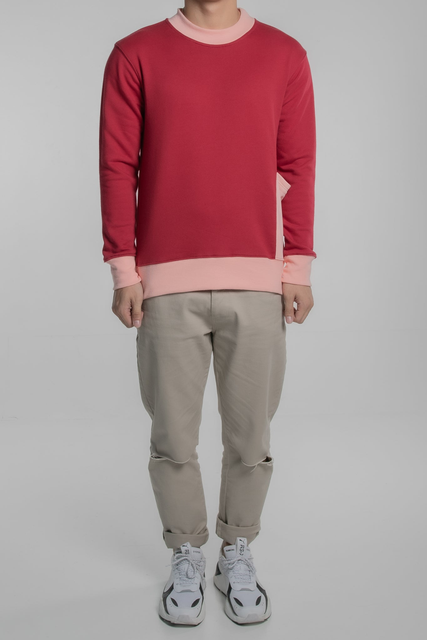 Contrast Collar Pullover (Red)