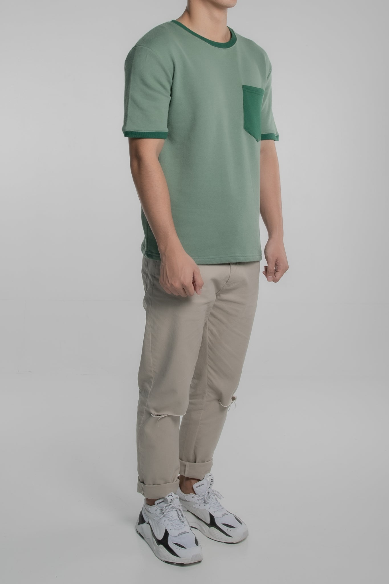 Contrast Collar Pocket Tee (Green)