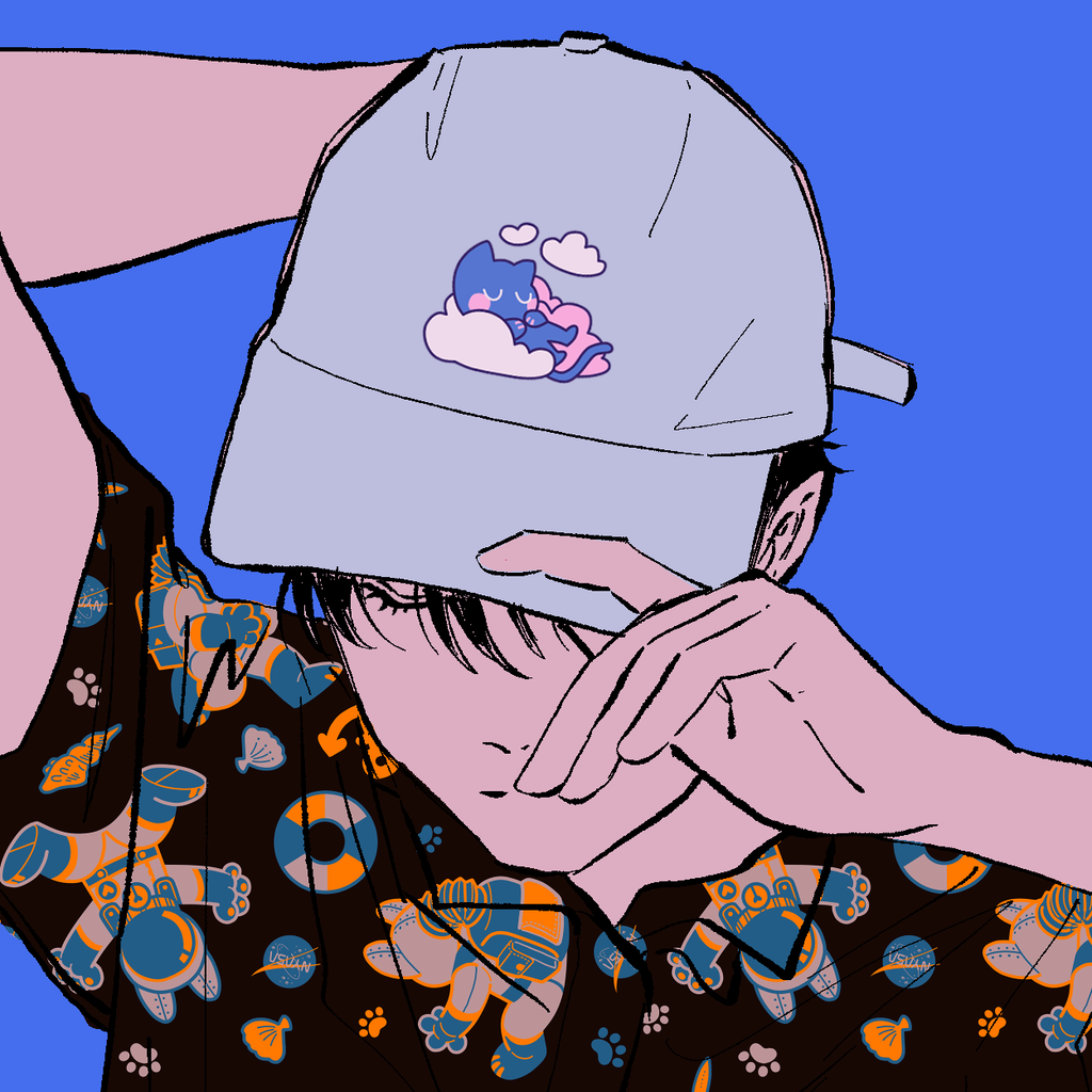 Cat Dreams Dad Hat by Cynthia Cheng