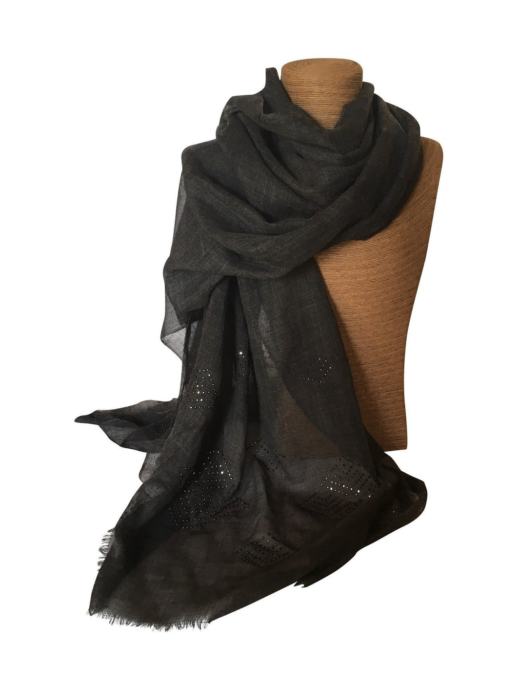 Wool Silk Charcoal Wrap with Swarovski Crystals