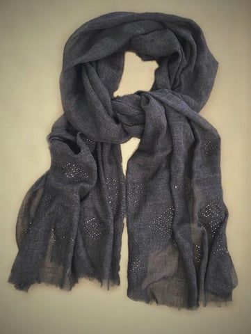 Wool/Silk Charcaol Wrap Scarf  Swarovski Crystals Beautifully Rapt