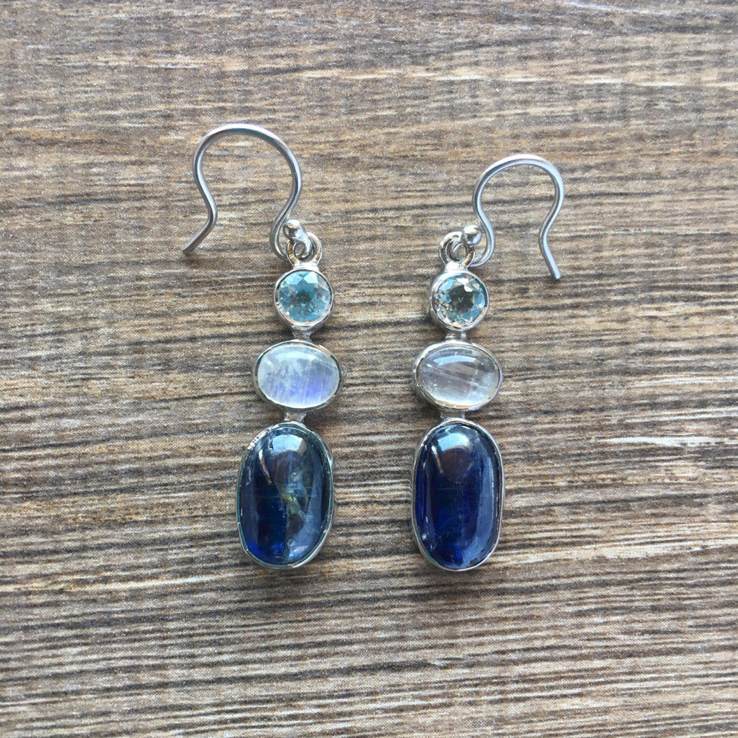 Sterling silver earrings blue topaz moonstone