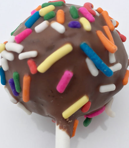 Cake Pops - One (1) Dozen - Chocolate Cake Dipped In Milk Chocolate With Rainbow Sprinkles