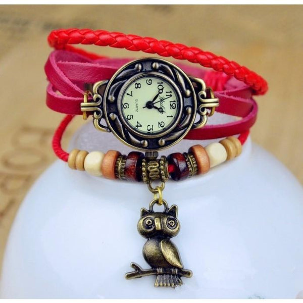 Owl Genuine Cow Leather Bracelet Watch - Luisa's World of Fashion