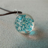 Sexe Mara Crystal Glass Ball Dry Flower Charm Necklace - Luisa's World of Fashion