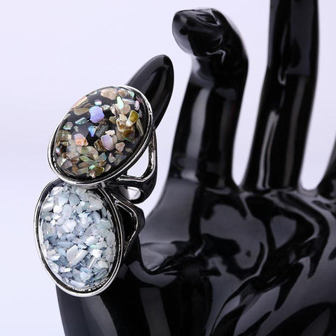 MIAO MIAO Ladies Elegant White Natural Shell Big Stone Rings - Luisa's World of Fashion