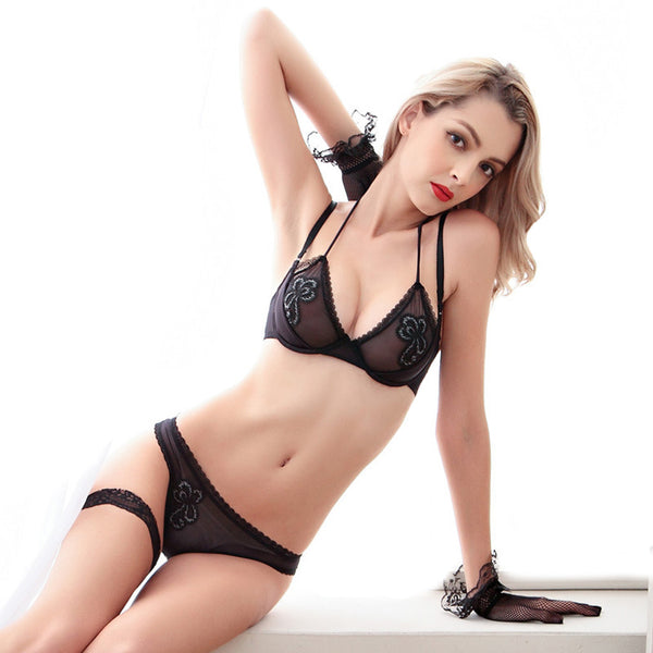 Black Sheer Strecth Embroidery Tulle Lingerie Set with Padded Balcony