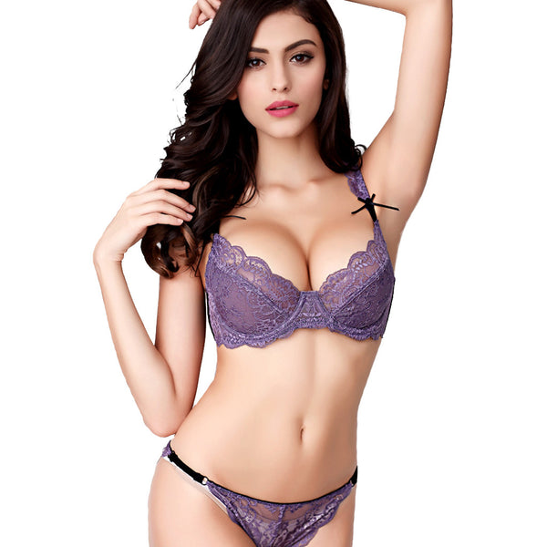 Lace Bra Embellished With Bows Brief Sets String Sexy Women Underwear Set