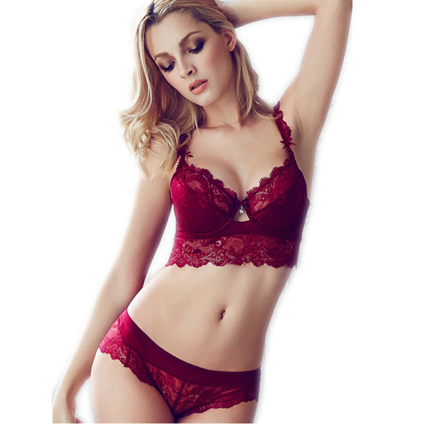Soft Touch Comfortable Stretch Sheer Lace Bra and Panty set