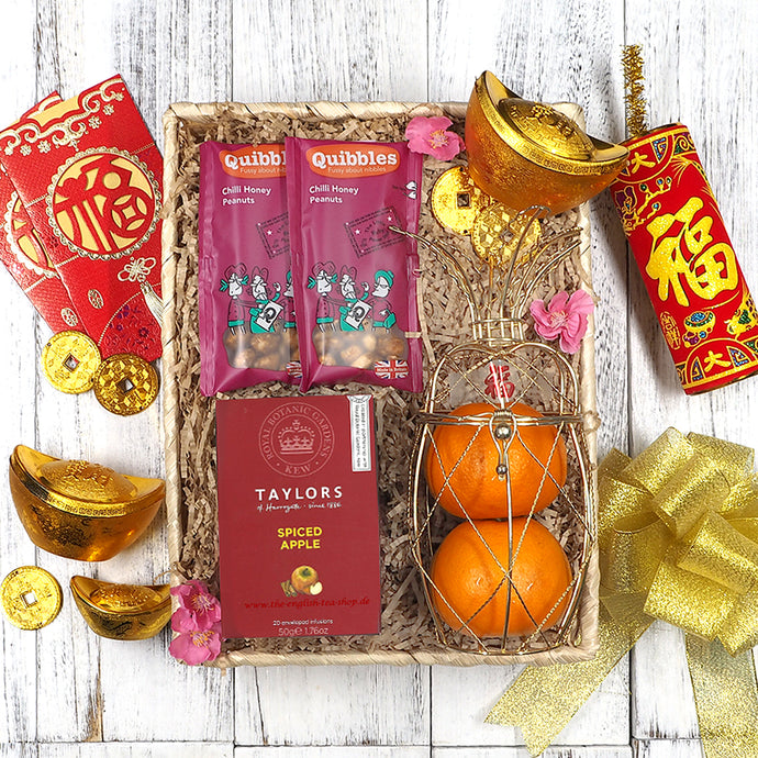 Chinese New Year Healthy Snack, Tea, Oranges Hampers. Free delivery in Singapore.