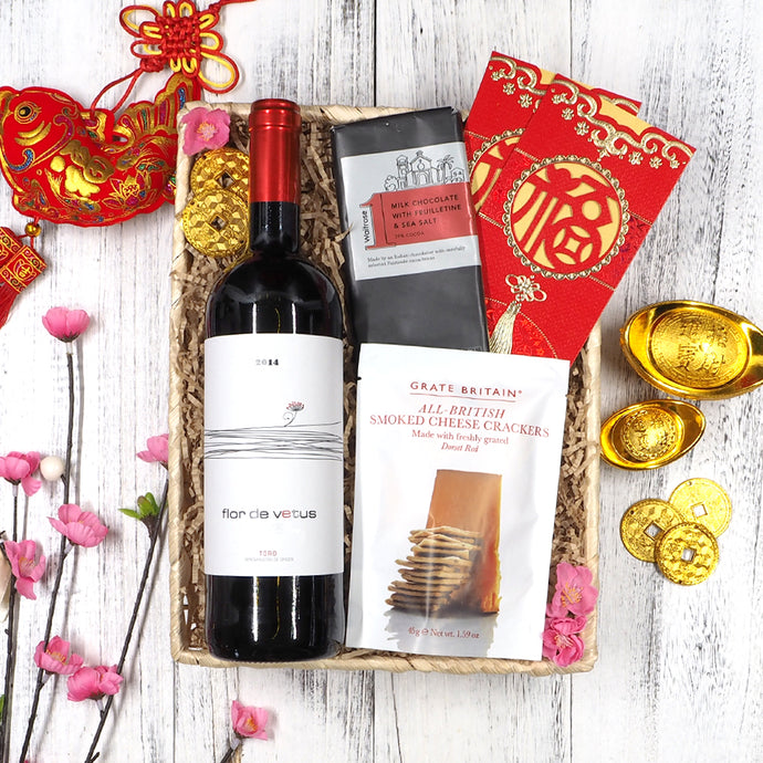 Chinese New Year Wine Chocolate and Snacks Hampers. Free delivery in Singapore.