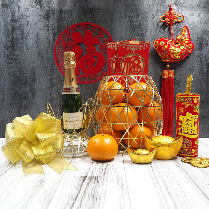 Chinese New Year Mandarin Oranges Hampers with Mini Champagne. Free delivery in Singapore.