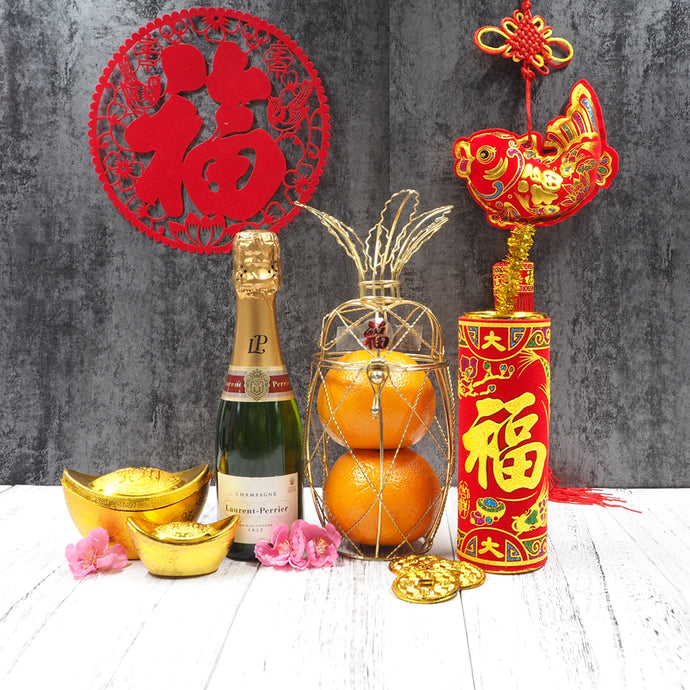 Chinese New Year Pineapple Hampers with Champagne. Free delivery in Singapore.