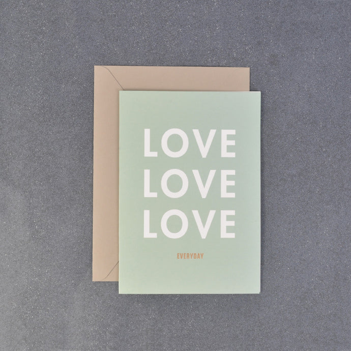 Minty Green Love Love Love Message Gift Card