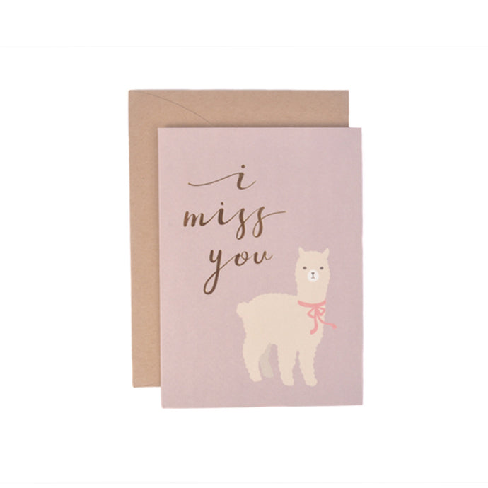 I Miss You Llama Message Gift Card