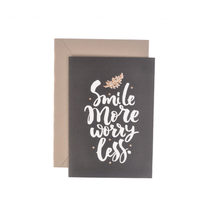 Smile More Worry Less Monochrome Message Gift Card