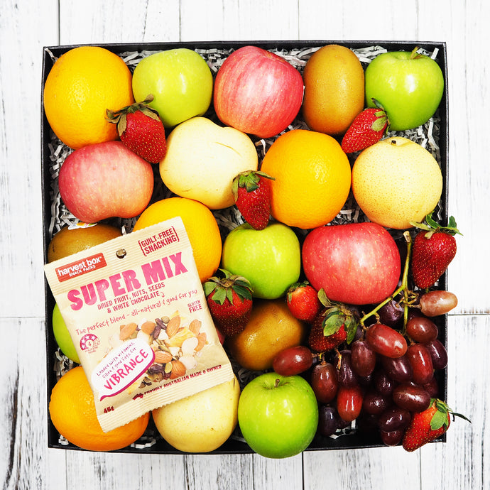 Harvest Box Super Healthy Nuts Mix with Fruit Gift Hamper. Free delivery within Singapore.