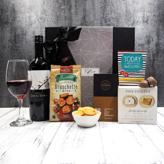 Red Wine, Biscuits, Marshmallows, Bruschette Bites and Chocolate Gift Hamper. Free delivery within Singapore.