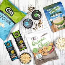Healthy hamper with tea, quinoa chips, nuts and popcorn. Free hamper delivery within Singapore.