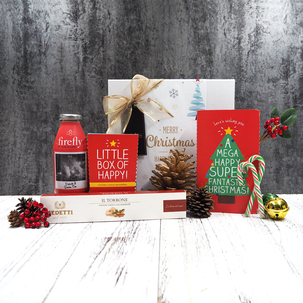 Send someone good cheer and great hope for the new year with our Joyful Delights Hamper that has Firefly drink, chocolate mallows, nougurt and other delicious sweet treats.