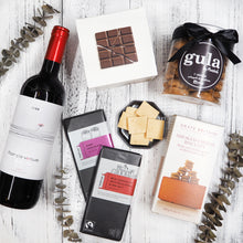 Wine, biscuits and chocolate gift hamper. Free hamper delivery within Singapore.