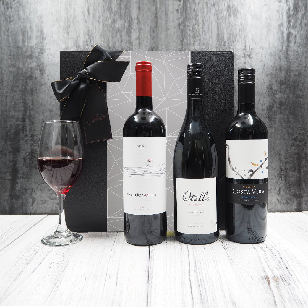 Trio Wine and Champagne Gift Hamper. Free delivery within Singapore.
