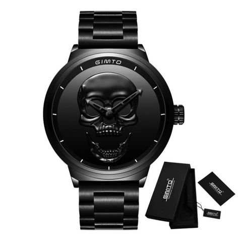 New Steel 3D Retro Skull Face Quartz Watches - Secure Wallet & Phone