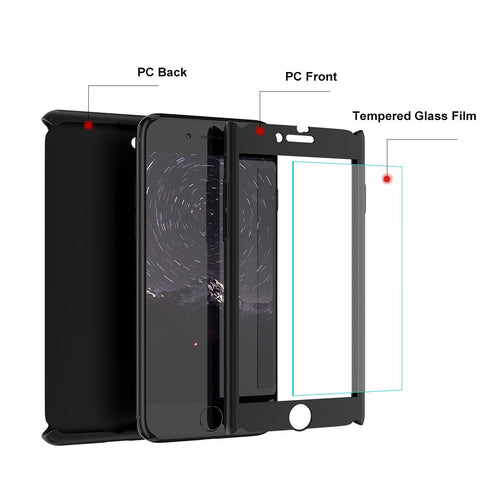 Glass Front 360 Protective Case For iPhone 5 5S SE X 6 6S 7 8 7 8 Plus - Secure Wallet & Phone