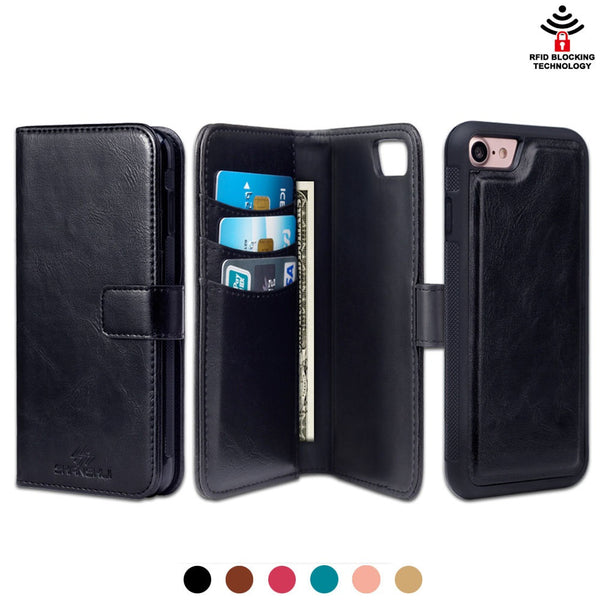 iPhone 7 7 Plus Detachable 2 in 1 PU Leather Case Multifunction Wallet with RFID Signal Blocking Technology - Secure Wallet & Phone