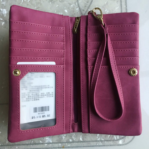 Women's Large Dull Polish Leather Wallet - Secure Wallet & Phone
