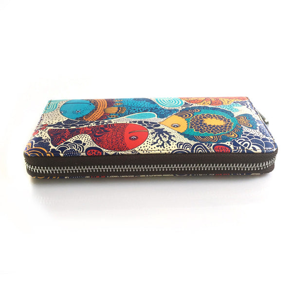 Women's Leather Fish Lady Wallet - Secure Wallet & Phone