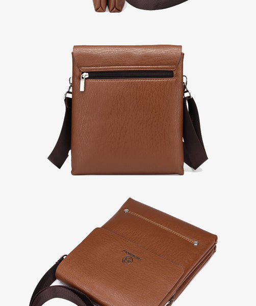 Men's Leather Business Messenger - Secure Wallet & Phone