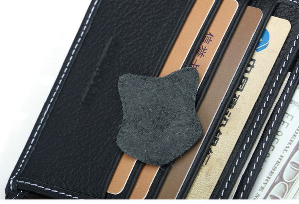 Leather Brush Black Wallet with RFID Blocking Technology - Secure Wallet & Phone