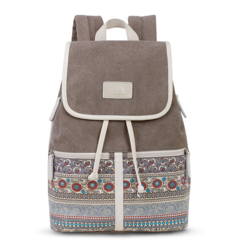 Women's Floral Style Canvas Backpack - Secure Wallet & Phone