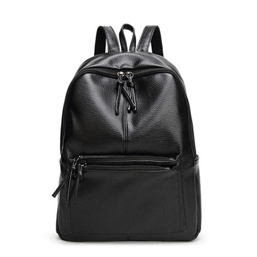 Women's Leather School Backpack - Secure Wallet & Phone