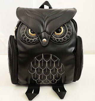 Women's Stylish Leather Owl Style Backpack - Secure Wallet & Phone