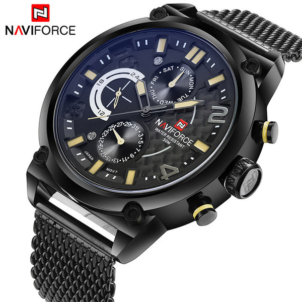 New NAVIFORCE Mens Waterproof Analog Quartz Steel Wrist Quartz Watches - Secure Wallet & Phone