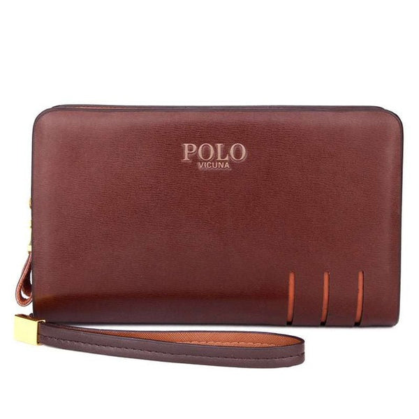 VICUNA POLO Men's Scar Style Leather Wallet - Secure Wallet & Phone