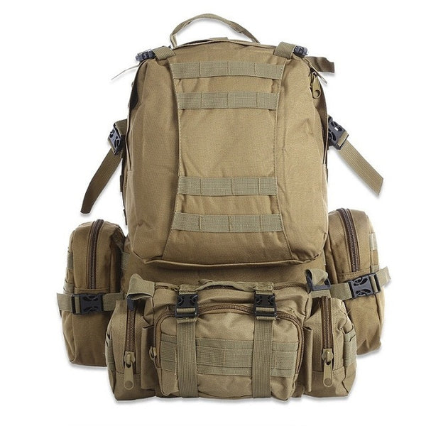 50L Multi-functional Tactical Water Resistant Molle Pack - Secure Wallet & Phone
