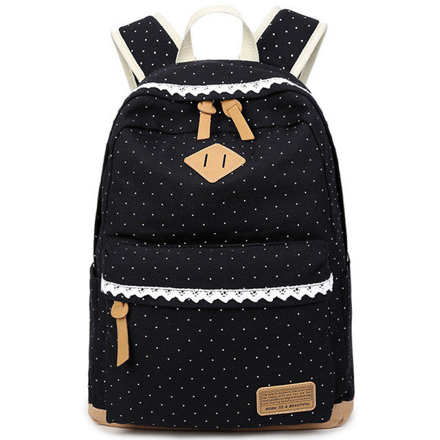 Canvas Ethnic Dotted Print Backpack - Secure Wallet & Phone