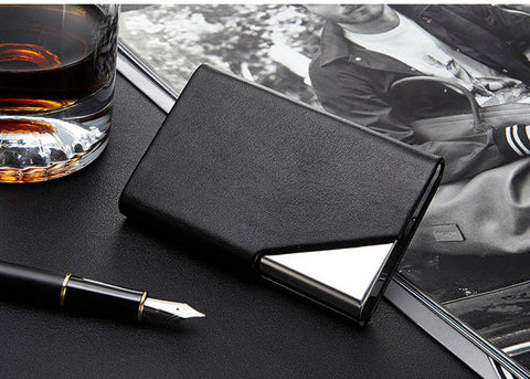 Stainless Steel Travel Business Bank Card Case with RFID Signal Blocking Technology - Secure Wallet & Phone
