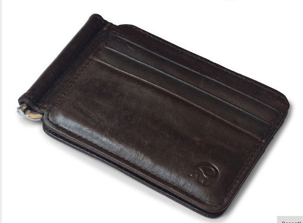 Leather Retro Money Clip Wallet - Secure Wallet & Phone